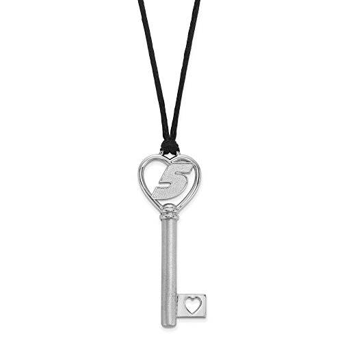 925 Sterling Silver Rhodium-plated LogoArt NASCAR # '5' in Heart Key Pendant w/ Silk Cord Necklace 18