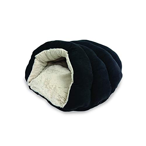 "SPOT Ethical Pets Sleep Zone Cuddle Cave - 22"" Black - Pet Bed for Cats and Small Dogs - Attractive, Durable, Comfortable, Washable"
