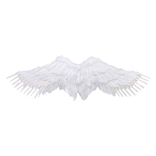 Shan-S Halloween Cosplay Plume Wings,Halloween Mardi Handsome Cospaly Black White Feather Angel Pretend Play Dress Up Costume Accessory