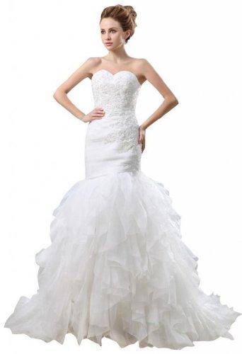 Kleidungen Tuell Ausschnitt Damen Weiß Aermellos Hof Meerjungfrau Herz Trompete Brautkleider Reissverschluss Dearta Schleppe qAnwORW55