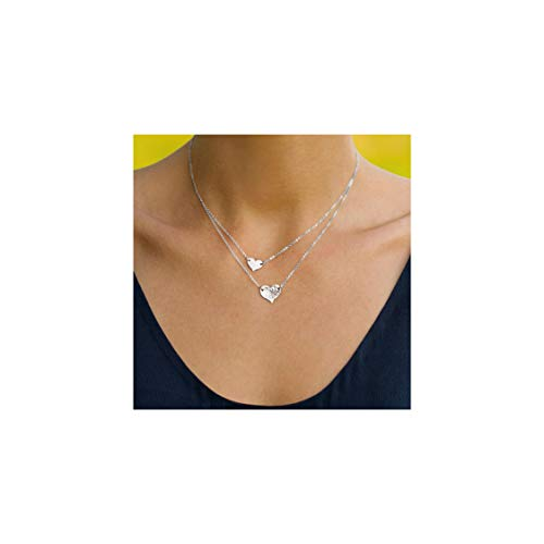 Mevecco Silver Layered Heart Shaped Necklace,14K Silver Plated Dainty Cute 2 Heart Minimalist Simple Necklace for Women