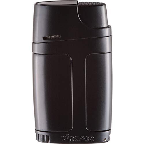 Xikar ELX Double Jet Flame Lighter, Ergonomic Design, with Cigar Punch, Black