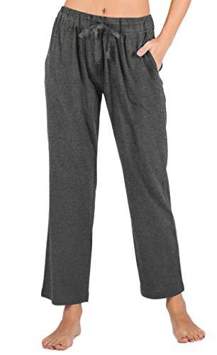 (WEWINK CUKOO Womens Pajama Pants Cotton Sleep Pants Stretch Knit Lounge Pants with Pockets (XL=US 16-18, Granite Gray- Straight-Legged))