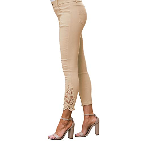 Stretch Crochet - Amaryllis Apparel Women's Buff Crochet Ankle Super Stretch Jegging with Pockets   Cotton Blend