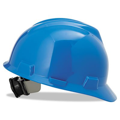 MSA 475359 V-Gard Slotted Protective Hard Hat with Fas-Trac Suspension, Standard, Blue