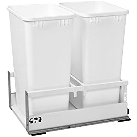 Rev A Shelf TWCSD 1850DM 2 Double 50 Qt White Pull Out Waste Container With Servo Drive