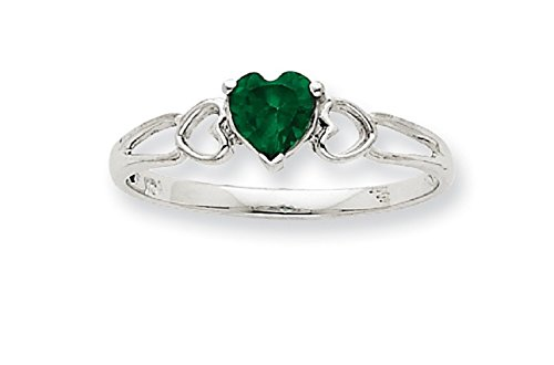 10K Gold Genuine Emerald May Birthstone Heart Ring (white-gold) - Gold Genuine Emerald Ring