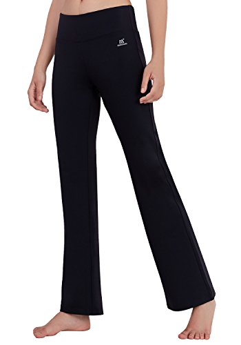 Straight Leg Bootcut Flare (Matymats Women's High Waist Yoga Flare Bootleg Pant Workout Fitted Athletic Bootcut Pants)