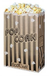 EcoCraft Popcorn Bags 170oz - With Black Stripes (Package of 100)