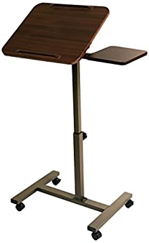 "Seville Classics Tilting Sit-stand Computer Desk Cart With Mouse Pad Table, Height-adjustable From 27.5"" To 40"" H, Walnut 1"