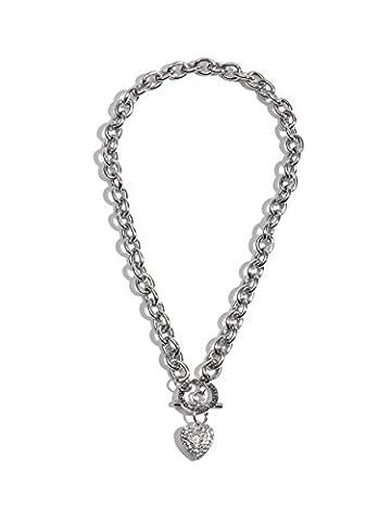 G by GUESS Women's Rhinestone Heart Toggle Necklace (Heart Toggle Chain Necklace)
