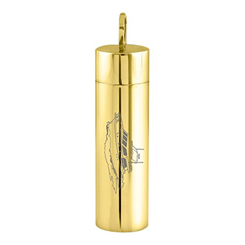 Perfect Memorials Off Shore Cruiser Gold Cylinder Stainless Steel CremationJewelry