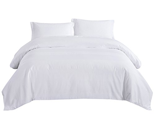 Cotton Waffle Duvet Cover Set with Sateen Stripes Hotel Luxury for Winter Bedding Set 3 Pieces King Size White