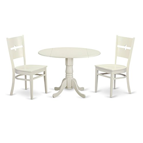 East West Furniture DLRO3-WHI-W 3 Piece Small Kitchen and 2 Dinette Chairs Dining Room Table Set for 2 People