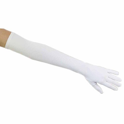 (Shooting Stars Matte Satin Opera Length Gloves, White)