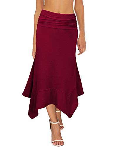 GloryStar Women's Elastic Waist A-Line Flowy Asymmetrical Pleated Midi Skirt (S, - Gathered Waist Skirt
