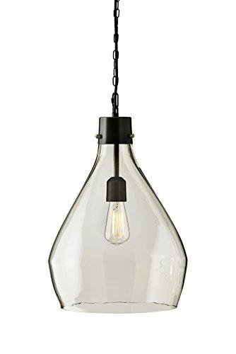 - Ashley Furniture Signature Design -  Emilano Rustic Glass Pendant Light - Black & Clear