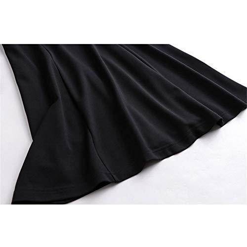 Y Elegante Sheer Vestido De Larga Formal A Swing Las Señoras Negro Malla Patchwork Túnica Casual Flare Lunares Fit Manga Mujeres Dress line qdrHCrxI8w
