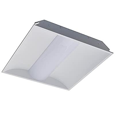 LEDwholesalers 2x2-ft 40-Watt 5200-Lumen Glare-Free LED Troffer Ceiling Light Fixture with 0-10V Dimming, ETL-Listed & DLC-Qualified, Daylight 5000K, 2113WH