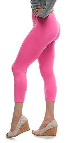 Lush Moda Seamless Capri Length Basic Cropped Leggings - Variety of Colors - Neon Pink OS -