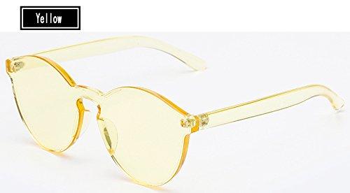 Gafas Color del Mujer de Mujer Caramelos de Sol Gafas TL Sunglasses Gafas Hombre Amarillo Vintage de yellow Sol FqWgqpn