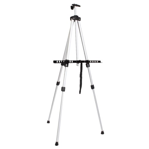 Azadx Aluminum Alloy Folding Easel, Adjustable Height for Artist students Drawing Painting Sketching, Display Presentation Exhibition Picture Holder Adjustable Stand Light Weight (White)