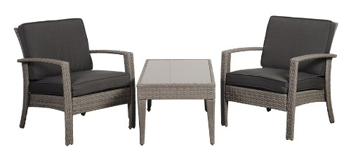 Atlantic 3-Piece Tahiti Deluxe Wicker Conversation Set with Grey Cushions