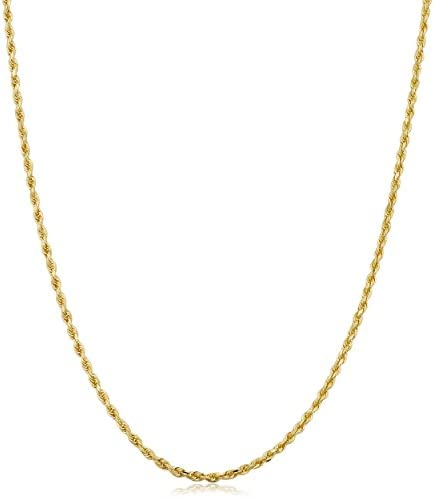 Kooljewelry Solid 14k Yellow Gold 1.5 mm Rope Chain Necklace