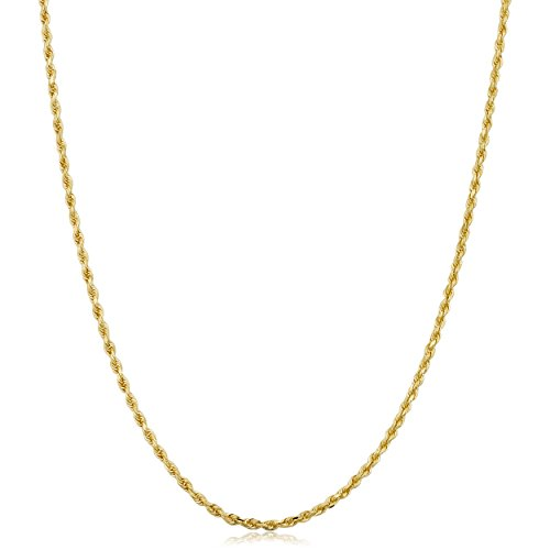 Kooljewelry 10k Yellow Gold 1.5mm Rope Chain Necklace (14 inch) ()