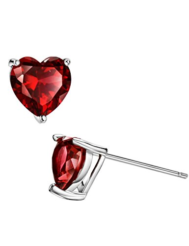 1ct Rhodolite Garnet Stud Earrings Sterling Silver Heart Shaped January Birthstone Jewelry for Women
