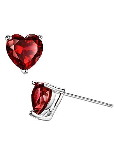 Garnet Birthstone Heart Earrings - 1ct Rhodolite Garnet Stud Earrings Sterling Silver Heart Shaped January Birthstone Jewelry for Women