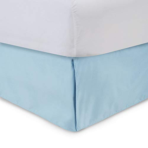 Ethereal Bedding Dreamios 400-TC Sateen 1-PC Luxury Split Corner Tailored Bed Skirt California King Solid Light Blue 21'' Inches Drop Length 100% Egyptian Cotton