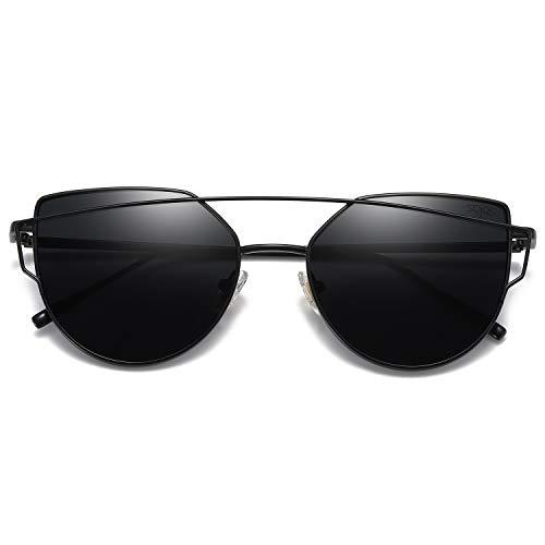 SOJOS Cat Eye Mirrored Flat Lenses Street Fashion Metal Frame Women Sunglasses SJ1001 with Black Frame/Grey ()