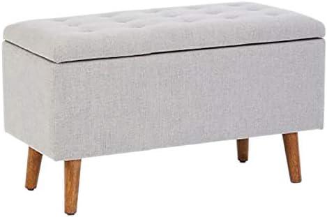Panca Contenitore Tessuto : Ntbst legno massello ottomana contenitore tessuto simil lino