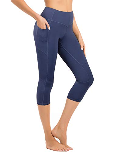 Hopgo Women's 3/4 Workout Legging Crop Yoga Pants Tummy Control Sports Tights Blue US L