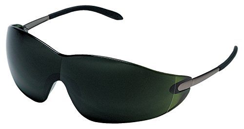MCR Safety S21150 Blackjack Safety Glasses with Chrome Metal Temple and Green 5.0 Lens
