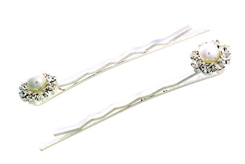 - Rosemarie Collections Women's Beautiful Crystal Rhinestone with Simulated Pearl Flower Hair Clip Bobby Pins