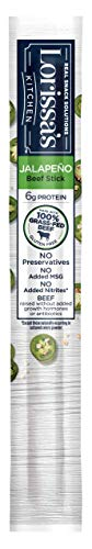 Lorissa's Kitchen Grass Fed Beef Sticks, Jalapeño, 1 oz. Stick - Made with 100% Grass-Fed Beef, Keto Friendly Snacks, Gluten Free, No Added Nitrites or Nitrates - (Packaging May Vary), Pack of 1