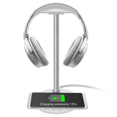 NSCHJZ Stand with Wireless Charging, Sturdy 5W 2-in-1 Headset Stand QI Charging Pad Wireless Charger for iPhone Android with LED Indicator by NSCHJZ