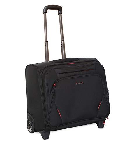 Nasher Miles Wall Street 2 Wheel 14 Polyester Black Laptop Roller Case  Black Red