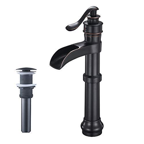 (Aquafaucet Waterfall Spout Single Handle Lever Hole Commercial Bathroom Sink Vessel Faucet Oil Rubbed Bronze)