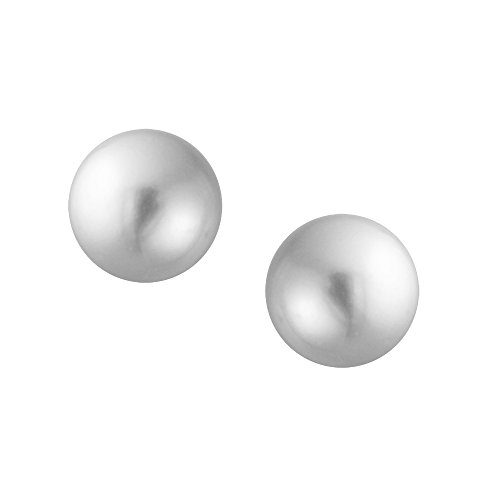 Gray Simulated Pearl Stud earrings 925 Sterling Silver 12mm by Bling Jewelry (Image #2)