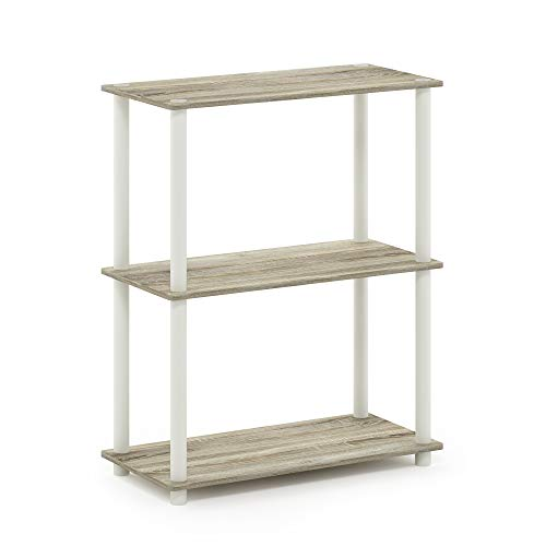 Furinno 10024OK/WH Turn-N-Tube 3-Tier Display Rack, Single, Sonoma Oak/White