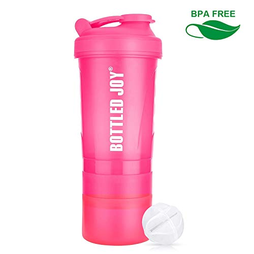 BOTTLED JOY Protein Shaker Bottle 20 oz BPA Free Sports Water Bottle, 600ml Gym Water Bottle With Storage for Quick Easy Nutrition Supplement (Pink, 600ml)