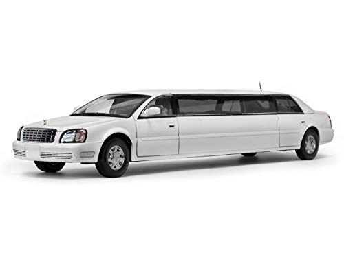 (2004 Cadillac DeVille Limousine White 1/18 Diecast Model Car by Sunstar 4232)