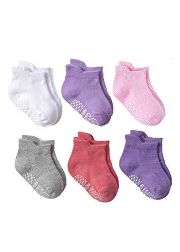 (Angel.W Toddler Socks, Non-Skid Ankle Socks with Grip Kids Baby Boys Girls Anti Slip Low Cut Cotton Socks, 6 Pairs (Baby Girls, 0~1 Years))