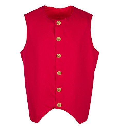 Heritage Costumes Adult 1700's Early American Colonial Inspired Waistcoat, Colonial Vest (XXXLarge, Red) -