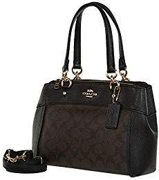 Coach Womens Mini Brooke Carryall Handbag, Signature Crossgrain Leather, Detachable Crossbody Strap (Mini, Brown/Black)