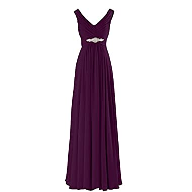 Yougao Women's V Neck A-Line Chiffon Long Floor Length Evening Dress Gown US 22W Plum