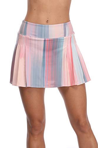 32e-SANERYI Women's Pleated Elastic Quick-Drying Tennis Skirt with Shorts Running Skort-14XL Pink